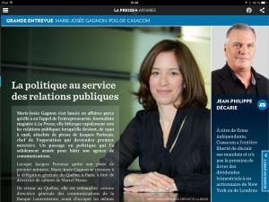 Entrevue de Marie-Josée Gagnon à La Presse